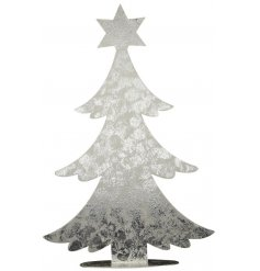 A simple yet stylish standing metal tree with a zinc pattern effect