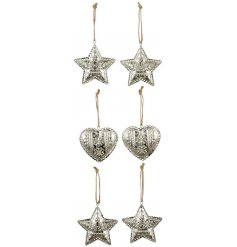 An assorted set of hanging metal hearts and stars,