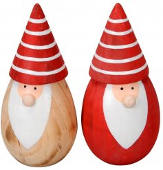 A mix of 2 painted red and natural wooden Santa ornaments with cute cone hats and button noses.