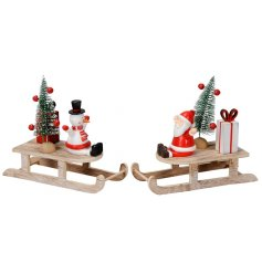 Decorate your home with these adorable Santa and Snowman sleigh ornaments. A unique family favourite for the home