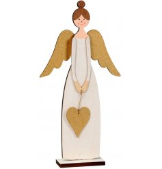 An elegant standing wooden angel decoration with gold glitter wings and heart.