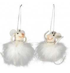 Two adorable felt mice with fluffy tutus and crowns