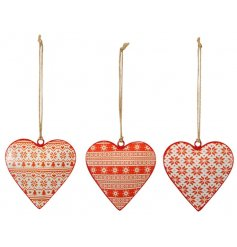 A festive themed mix of hanging metal heart decorations, each assorted with its own Nordic inspired prints and patterns