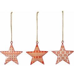 Three assorted nordic hanging Christmas stars