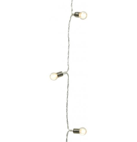 A string of warm white LED lights with miniature bulbs.