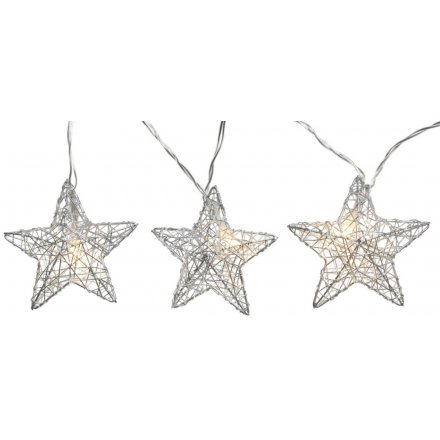 A charming string of Warm Glowing LED lights with added silver wire stars