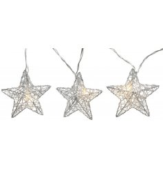 Bring a twinkle to any home interior decor or display set up with this charming string of LED Wire Star Lights