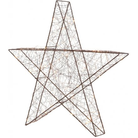 LED Light Up Brown Wire Star - 30cm