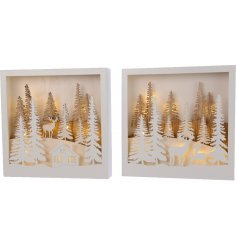 A beautiful assortment of Woodland Inspired Scenes, each complete with an added Warm Glowing LED centre