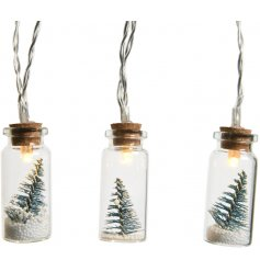 Bring a warm glow to any Windowsill, shelf or tree display with this charming string of illuminated mini mason jar ligh
