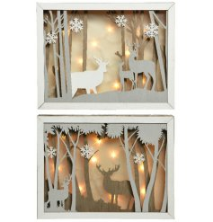 Bring home a comforting and cozy glowing sense with these beautifully finished Woodland Scene LED based displays