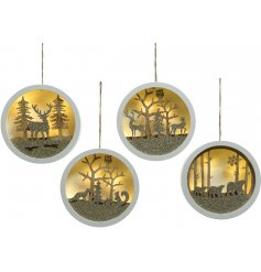Bring home a comforting and cozy glowing sense with this beautifully finished assortment of Woodland Scene LED hangers