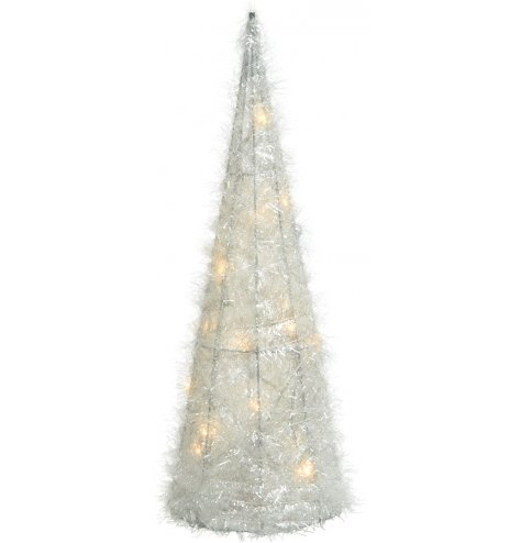 A stunning cone shaped, tinsel wrapped Christmas tree with LED lights and a sparkling finish.