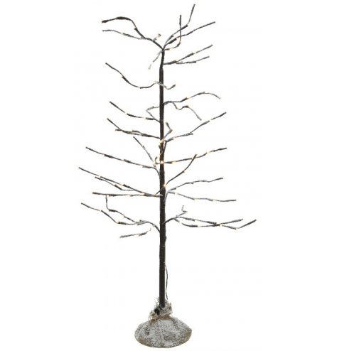 A rustic LED twig tree with snow dusted branches and warm white lights.