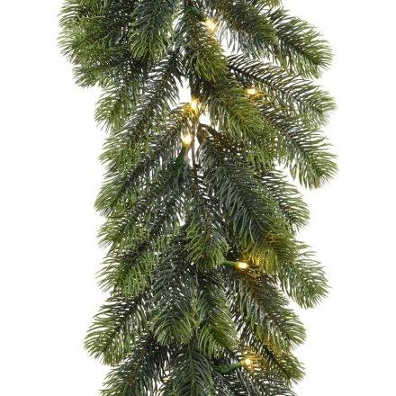 Pine Needle Pre-Lit LED Garland
