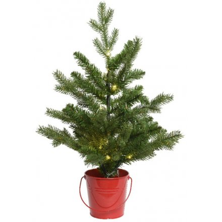Festive Red Bucket and LED Tree, 60cm