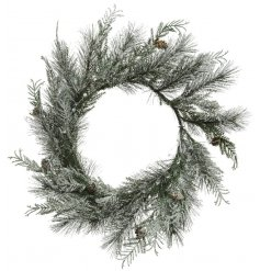 A rounded shaped wreath spread with frosted pine branches and little pinecone accents