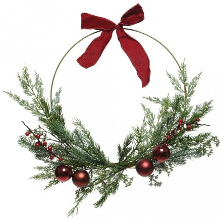 Berry And Bauble Round Wreath, 55cm