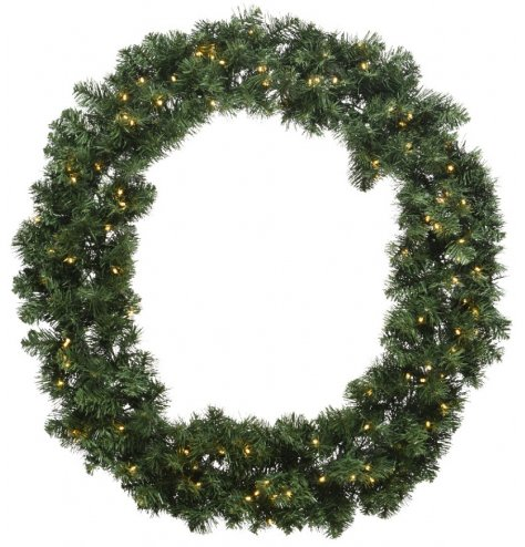 A large traditional wreath adorned with pre-lit warm glow lights. Suitable for display inside and outside of the home.