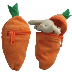 A mysterious looking plush orange carrot, open the zip to discover an adorable bunny soft toy inside!