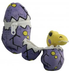 A mysterious looking plush purple egg, open the zip to discover an adorable T-Rex soft toy inside!