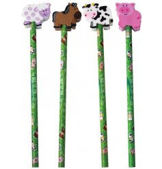 A fun mix of drawing pencils each topped with a fun farm yard animal eraser