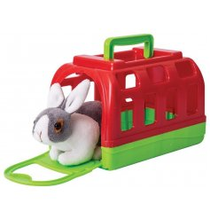 A sweet and cuddly soft toy bunny, placed in its own colourful carry case!