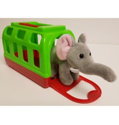 A sweet and cuddly soft toy elephant, placed in his own colour carry case!