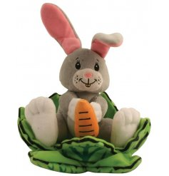A plush bunny soft toy with a matching cabbage leaf enclosure