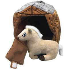 A snuggly soft toy horse complete with a stable enclosure