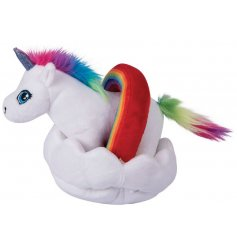 A magical unicorn soft toy complete with a cloud and rainbow surround