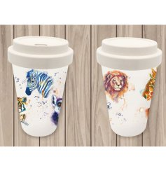 As well as beautifully decorated this travel mug is made from bamboo, making it eco friendly for the environment!