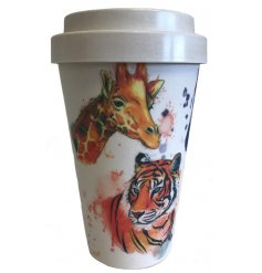 An eco friendly bamboo travel mug with a stylishly printed Safari Life inspired decal around it
