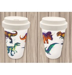 An eco friendly bamboo travel mug with a stylishly printed Dinosaur inspired decal around it