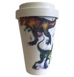 this charming Dinosaur themed travel mug will be sure to come in handy for any morning commute