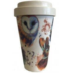 An eco friendly bamboo travel mug with a beautifully printed Wildlife inspired decal around it