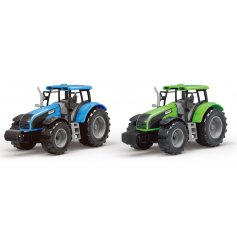 An assortment of blue and green toned tractors with added stickers and details