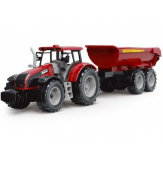 A large red tractor with an added trailer, a fun toy for any child!