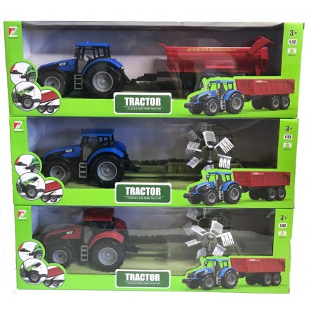 a red plastic tractor with added trailer, a fun pocket money toy for any child