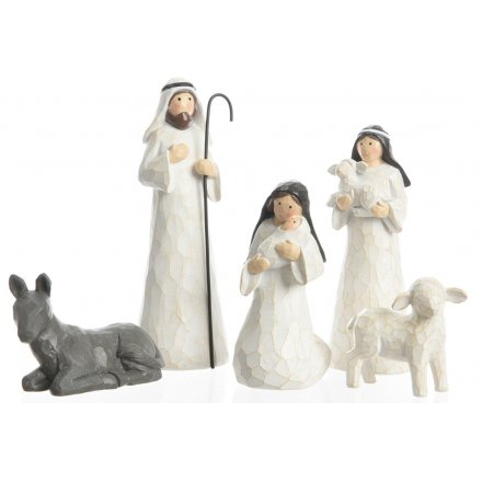 A traditional inspired Nativity Scene featuring an assortment of Characters from that special night