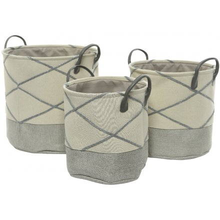 Set of 3 Block Tone Fabric Baskets
