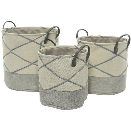 Grey Block Fabric Baskets, Set of 3