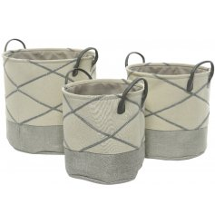 Stylishly store away spare towels, blankets, cushions or kids toys in this charming set of sized fabric baskets