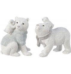 An adorable assortment of posed Polar Bears sprinkled with a glittery finish