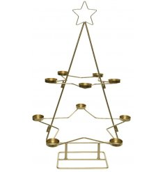 A simple yet stylish standing tlight holder with an added star decal and gold tone