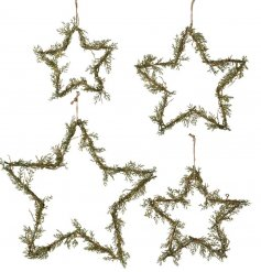 A charming set of 4 assorted sized iron based stars, each beautifully entwined with pine branches