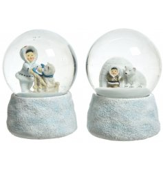 An assortment of wintery snowglobes filled with Eskimo Inspired Scenes,