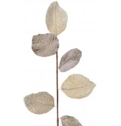 A metallic leaf garland with an added touch of glitter
