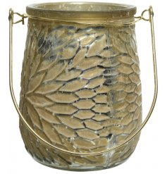 A beautifully rustic inspired candle holder featuring a distressed gold tone and added flower petal ridge decal