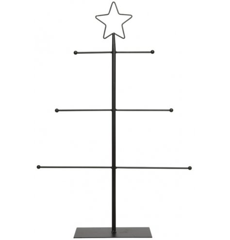 A contemporary, table top sized Christmas tree with 3 branches for displaying hanging decorations.